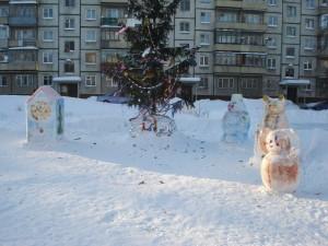 Снежный городок на Шлюзовой