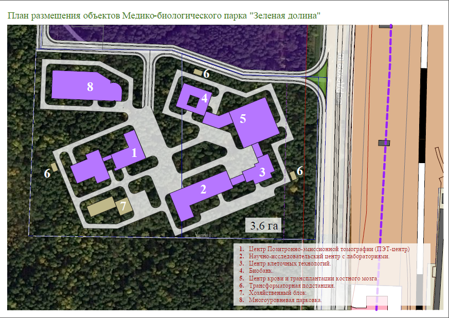 """План размещения объектов медико-биологического парка """"Зеленая долина"""""""