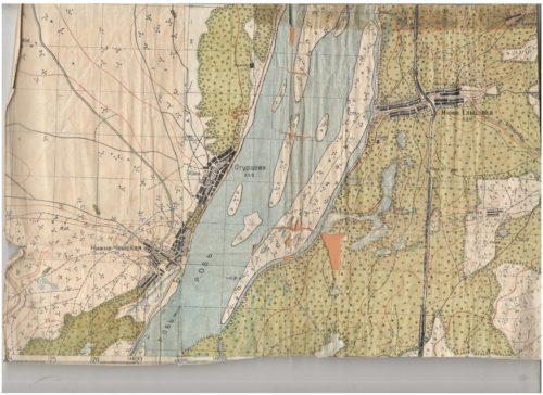 Карта побережья Оби до строительства ГЭС